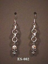 Skull Chainmail Earrings Goth Pirate Punk Chainmaille Emo Biker Jolly Roger