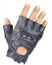 BLACK LEATHER FINGERLESS MOTORCYCLE BIKER RIDING GLOVES XS S M L XL 2XL 3XL
