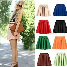 Candy Color Retro Double Layer Chiffon High Waist Short Pleated Mini Skirt Dress