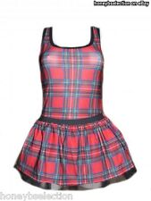 Ladies Scottish Tartan 80's Fancy Dress Style Tutu Vest Set Fun Run 1980's Night