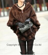 908 new real knitted mink fur brown/black hood cape/wrap/shawl