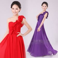 Womens Chiffon One Shoulder Bridesmaid Wedding Evening Party Cocktail Long Dress