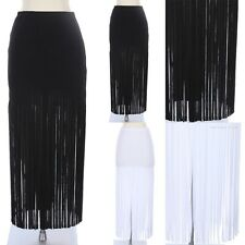 Fringe Bottom Maxi Skirt Full Length Long Solid and Plain Unique Stylish Span