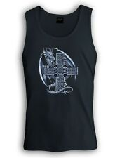 Blue Dragon Cross Singlet Gothic Medieval Celtic Reptile Mythical Creature