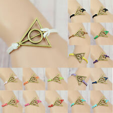 Multi-color wax rope Bronze Tone Deathly Hallows charm Harry Potter Bracelet
