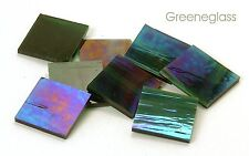 Dark Green Wispy Iridized Mosaic Glass Tile Cut to Order Shapes * Medium Package