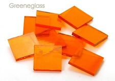 Orange Cathedral Fusible 96 coe Mosaic Glass Tile * Cut to Order Shapes * Pack