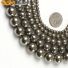 """Natural Stone Genuine Pyrite Gemstone Beads For Jewelry Making 15"""" Silver Gray"""