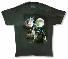 "THE MOUNTAIN ""HOWLING"" WOLVES BLACK TIE DYE T-SHIRT NEW OFFICIAL ADULT WOLF MOON"