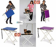 PORTABLE PET DOG CAT Travel Home Show Mobile GROOMING TABLE&Adjstable ARM&LOOP