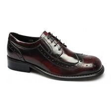 Ikon KROMBY Original Mens Leather Brogue Lace Up MOD Square Shoes Oxblood Bordo
