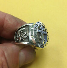 Russian Orthodox Save & Protect Saint George Jesus the Savior Church Silver Ring