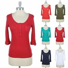 Henley Knit Top with Roll Up Sleeve and Chest Pocket Scoop Neck Cotton S M L