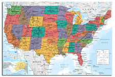 USA United States Large Map Wall Chart Poster New - Laminated Available