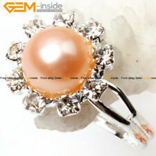 Gem-inside Freshwater Pearl White Gold Plated Ring Adjustable Size,Color Pick
