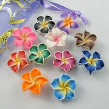 10/50pc Mixed Polymer Fimo Clay 5-leaves Flower Spacer Beads 15x5mm U pick color