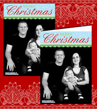 10 Personalised Christmas Greeting Cards Thank You Note Own Photo Portrait Green