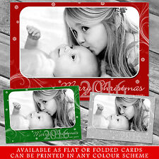 10 Personalised Christmas Greeting Cards Thank You Notes Red Snowflake Own Photo