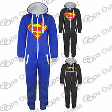 New Womens Mens Unisex Batman Superman Print Hooded Zip Up Front Jumpsuit Onesie