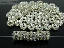 100P Czech Crystal Rhinestone Pewter Wavy Rondelle Spacer Beads 4mm 5mm 6mm 8mm