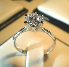 Simulated Solid Diamond Wedding Engagement 18KGP Ring Various Size