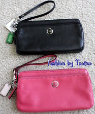 NWT COACH POPPY LEATHER DOUBLE ZIP WALLET WRISTLET CITRINE Rose OR Black 47894