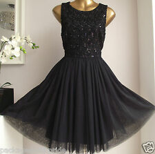 MONSOON BLACK SEQUIN TULLE ELECTRA 50's PROM COCKTAIL PARTY EVENING DRESS 8-16