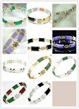 Beautiful of multi-color jade link bracelet 7.50 inches (Available colors)