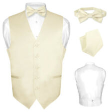 Men's Dress Vest BOWTie CREAM Color Bow Tie Set for Suit or Tuxedo