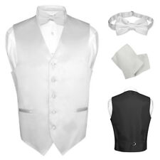 Men's Dress Vest BOWTie SILVER GRAY Bow Tie Set for Suit or Tuxedo