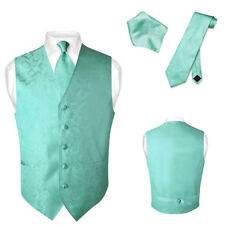 Men's Paisley Design Dress Vest & NeckTie TURQUOISE AQUA GREEN Neck Tie Set