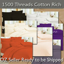 DB/QB/KB 1500TC Cotton Rich Sheets,Quilt Cover,Pillowcases,Fitted Set 8 colors