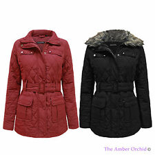 BRAVE SOUL NEW LADIES WOMENS FUR COLLARED QUILTED PADDED BELTED COAT JACKET 8-16