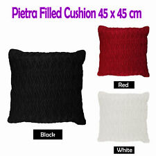 RED BLACK WHITE  - PIETRA Embossed Suede Filled Cushion 45cm x 45cm