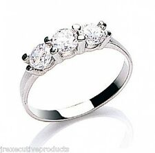 Beautiful 9ct White Gold Cubic Zirconia Trilogy Ring