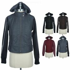 Faux Leather Sleeve Full Zip Up Jacket with Removable Hood Zippered Pocket S M L