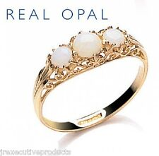 Beautiful 9ct Yellow Gold Real Opal Trilogy Ring