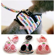 Strawberry Heart Bear Mesh Lining Dog Soft Vest Harness Pet Dog Leash Lead S M L
