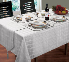 NEW HAMPTON JACQUARD SILVER TABLEWARE - TABLECLOTHS NAPKINS RUNNERS MATS