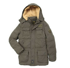 ALPHA INDUSTRIES BOSS HOODED DOWN FILLED PARKA JACKET COTTON SHELL OLIVE BLACK