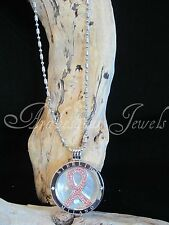 MILANO MI COIN/DISC/MONEDA CHARITY CANCER RIBBON NECKLACE/PENDANT/KEEPER/LOCKET