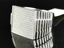 Mens White Gold Finish Micro Pave Simulated Lab Diamond 19 mm XL Pinky Ring