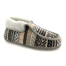 Womens Ladies Soft Comfy Warm Nordic Pattern Ankle Winter Bootie Slippers Beige