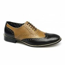 London Brogues GATSBY Mens Leather Lace-Up Two Tone Funky Formal Shoes Tan/Black