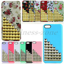 Hot Sale Bling Studs Pyramid Hard Rear Flower Cover Case For Apple iPhone 5S 5G
