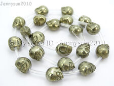 Natural Pyrite Gemstone Hand Carved Skull Loose Beads 16'' 6mm 8mm 10mm 12mm