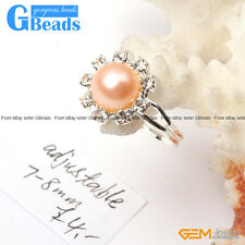 7-8mm Pink/Purple/White/Black Pearl Beads Helianthus Fashion Silver Plated Ring