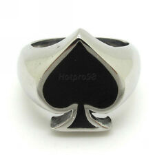 Punk Mens Cool Ring, New Black Silver Stainless Steel Gothic Poker Spade Jewelry