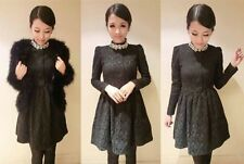 A88 sexy office lady lace faceted stones long sleeve short mini dress  BLACK