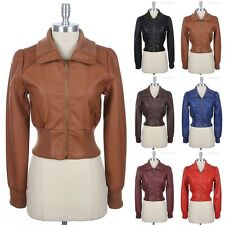 Faux Leather Bomber Motorcycle Rider Jacket with Zippered Side Pockets S M L
